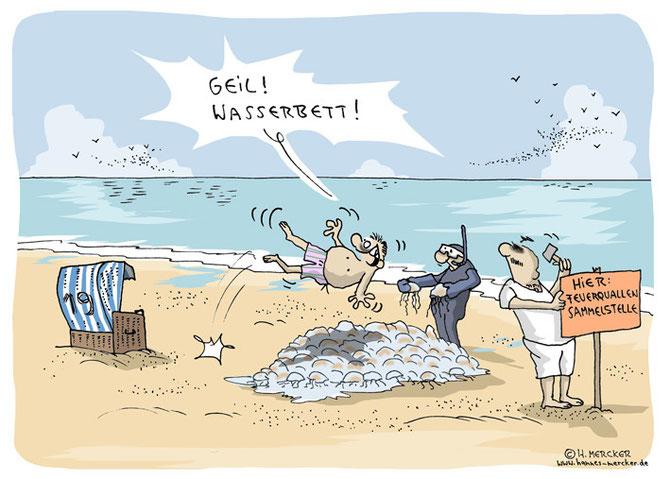 Cartoon: Vermeintliches Wasserbett am Strand