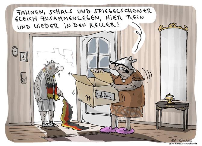 Cartoon von H. Mercker zum Halbfinal-Aus der deutschen Mannschaft in der Fußball-EM 2016