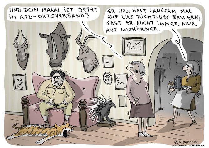 Tagesaktueller Cartoon zum Erfolg der AfD bei den Lanftagswahlen trotz der vorher bekundeten Bereitschaft führender AfD-Politiker auf Flüchtlinge notfalls schießen zu lassen.