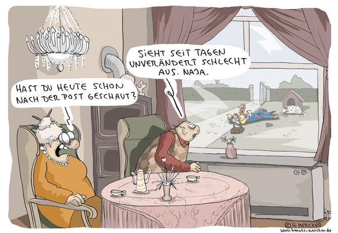 """Cartoon """"Die Post ist da"""""""