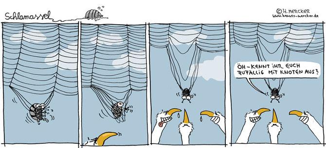 Schlamassel-Comictrip über Asseln und Knoten
