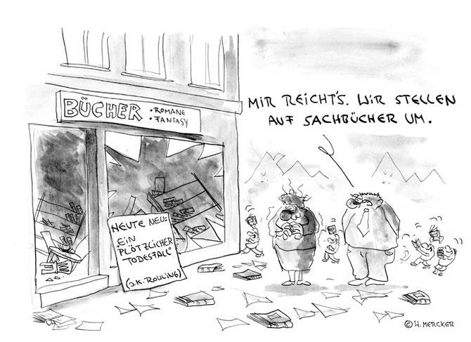 """Cartoon """"Ein neues Buch"""""""