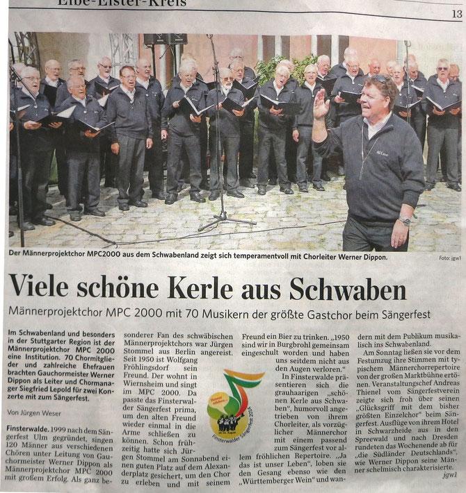 MPC2000-Männerchor auf dem Sängerfest in Finsterwalde 2014