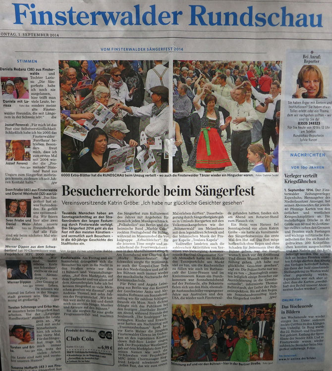 MPC2000-Männerchor auf dem Sängerfest in Finsterwalde