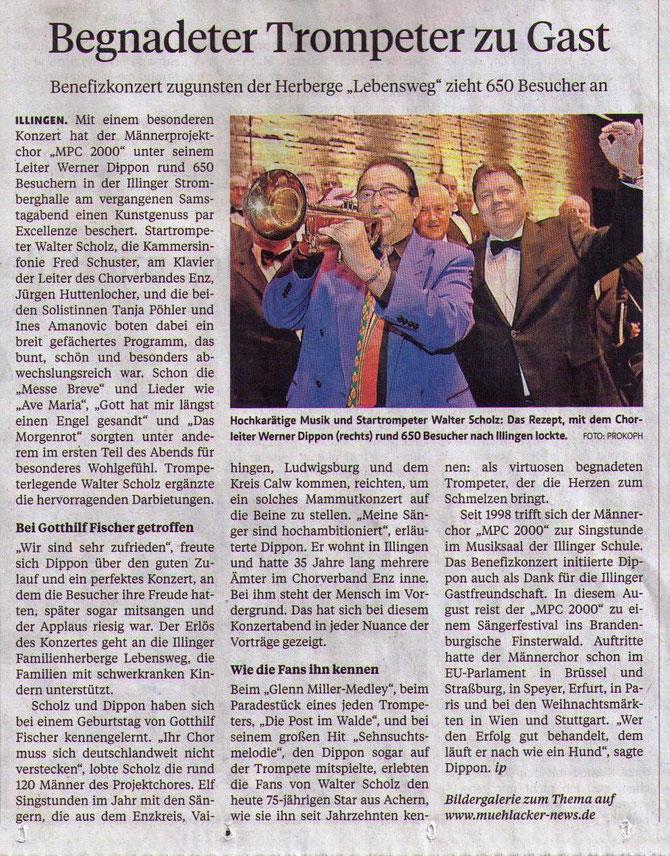 MPC2000-Maennerchor - Bericht Pforzheimer Zeitung Mühlacker, 24.03.2014