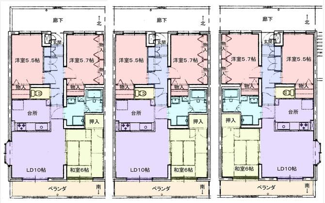 リヴァーサイドヴィレッジ西部屋・中部屋・東部屋間取り図