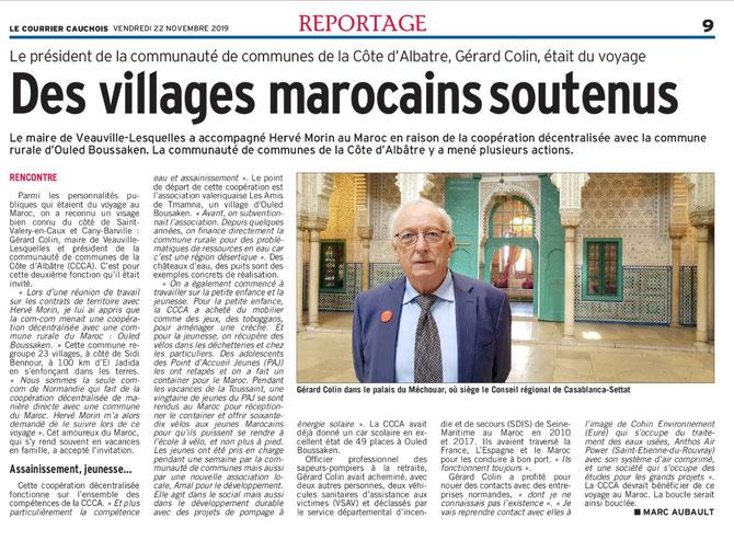 Des villages marocains soutenus par la communauté de la cote d'Albatre. TNAMNA Ouled Boussaken. Assainissemente jeunesse au programme. Gérard Colin avec Hervé Morin.
