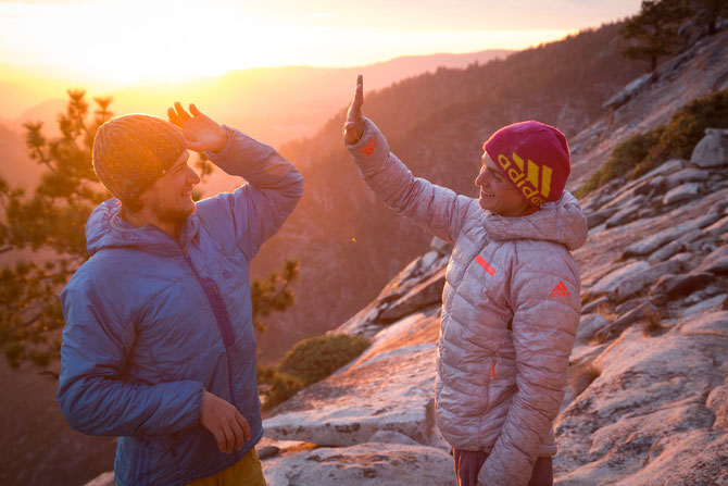 Very hard-earned high five on the summit of El Cap after Alexandra and Christopher both freeclimbed El Corazón. Picture by Johannes Ingrisch @adidas outdoor