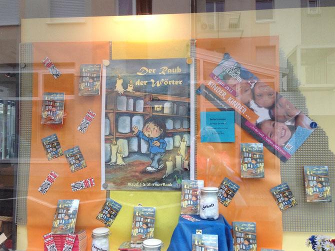 Schaufenster in der Buchhandlung DIchtung und Wahrheit, Hafenmarktpassage Heilbronn