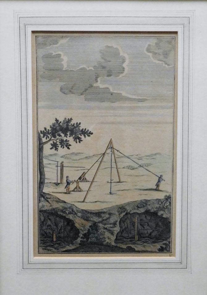 Originalgrafik des 16. Jh. aus Georg Agricola, zwölf Bücher vom Berg-und Hüttenwesen, Format : gerahmt, 43 x 31 cm