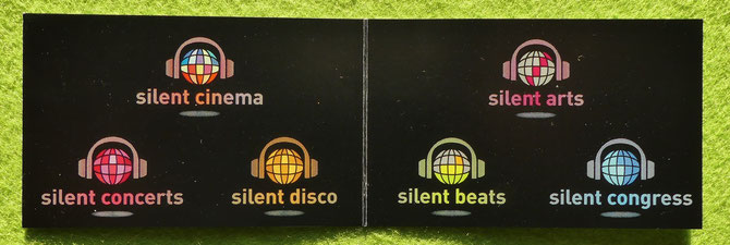 Business card silent events. silent cinema silent concerts silent disco silent beats silent arts silent congress