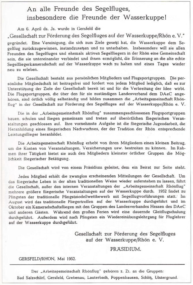 Niederschrift der Gründungsversammlung