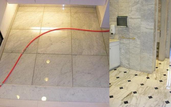 マンション住居部 玄関床石貼り ビアンコカラーラ
