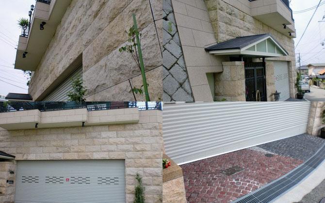 2009年 O邸(豊中市)住宅石工事 御影石乾式工法 錆G682割肌仕上げ