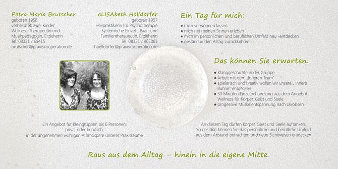 Gruppenangebot: Raus aus dem Alltag von Petra Maria Brutscher und Elisabeth Hölldorfer