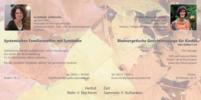 Herbstangebote 2014 von Petra Maria Brutscher und Elisabeth Hölldorfer