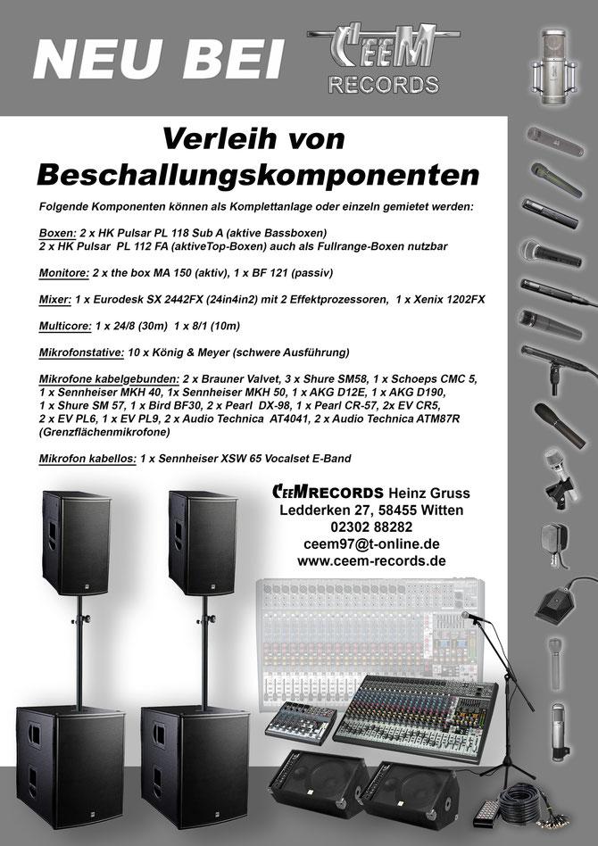 CeeM Records Tonstudio Witten : PA-Verleih : Verleih von Beschallungskomponenten.