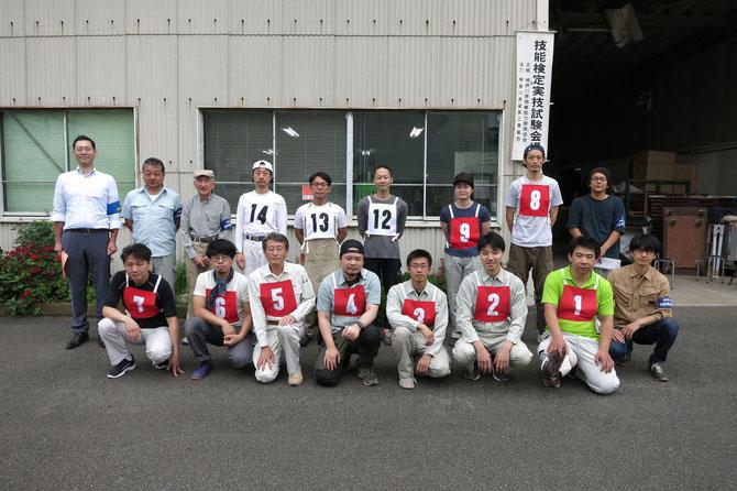 2019年6月23日、赤いゼッケン1級9名、白いゼッケン2級3名が受検。