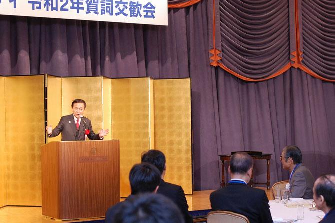 毎年、人を引き付ける祝辞をされる神奈川県、黒岩祐治知事。