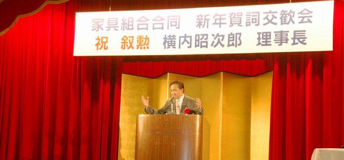「未病産業に家具メーカーも参加を」と熱弁する黒岩祐治神奈川県知事。