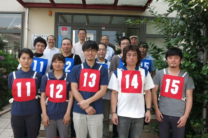 2017.7.9いす張りに1級(赤)5名、2級(青)2名の10名が挑戦。