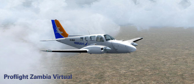 "Proflight Zambia Beech Baron 58 ""9J-MJS"" livery for CARENADO's Baron 58 for FSX now as download"