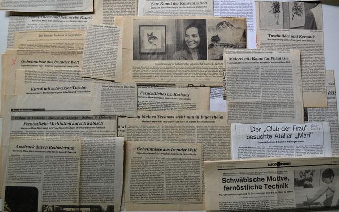 Eine kleine Auswahl von Zeitungsartikeln über die Sumi-e-Künstlerin Marianne Marx-Bleil und  von ihren Ausstellungen