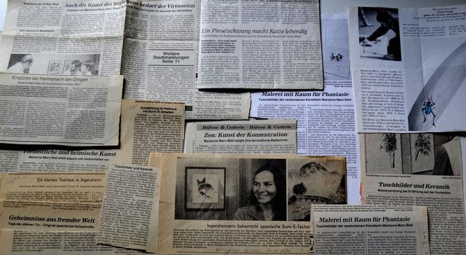 Eine kleine Auswahl von Zeitungsartikeln über die Sumi-e-Künstlerin Marianne MarxBleil und von ihren Ausstellungen