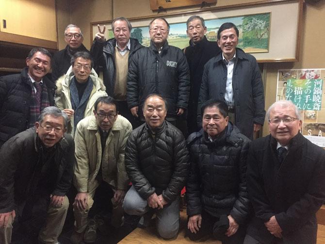 2019年1月、恒例の同期会を開催。24期12名。65才になっても同期の絆は強い。