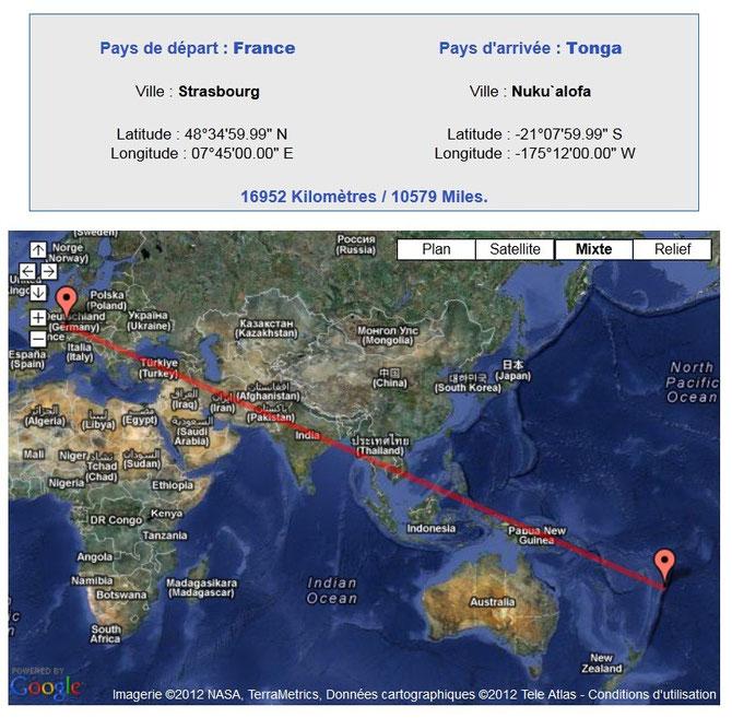 Distance entre Strasbourg et les iles Tonga. Sources:http://www.levoyageur.net/distan.php