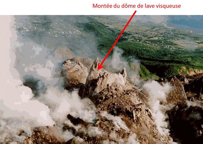 Montée du dôme du volcan de la Soufrière Hills (Montserrat aux Antilles). Sources: http://www.brgm.fr/brgm/Risques/Antilles/guad/vmons1.htm