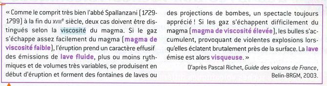 Explication historique d'une éruption volcanique. Source: SVT Belin 2007, p159.