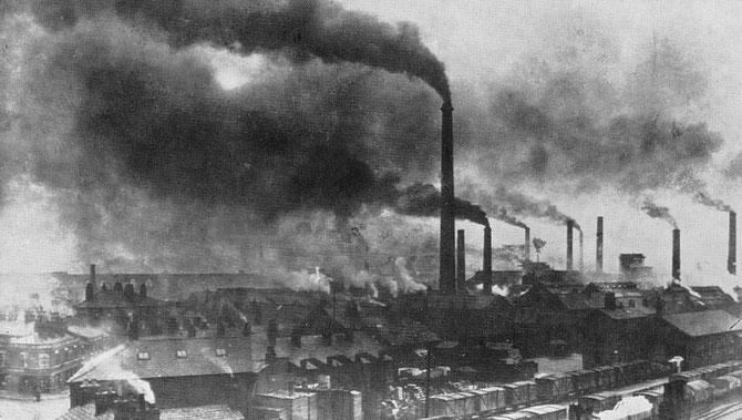 Pollution de l'air due à l'utilisation massive du charbon au XIXème et XXème siècle. Source: wikipédia.
