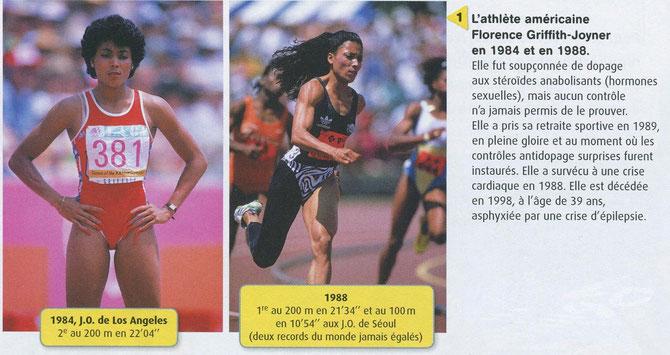 Exemple de la sportive Florence Griffith-Joyner, soupçonnée de dopage. Source : BELIN SVT.
