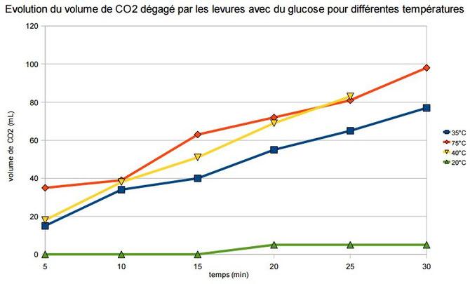 Evolution des dégagements de CO2  pour 4 températures différentes.  Source: http://www.ac-grenoble.fr/