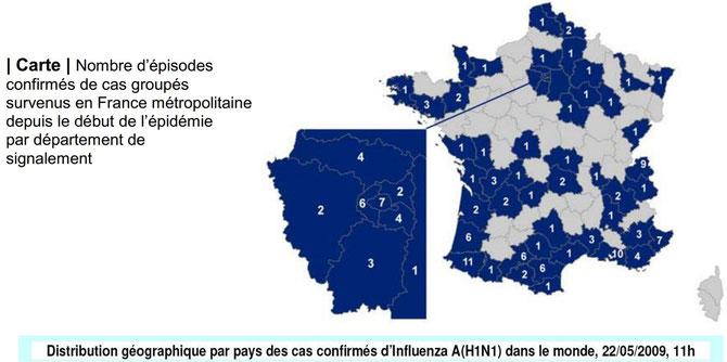 Départements français touchés par la grippe en 2009.