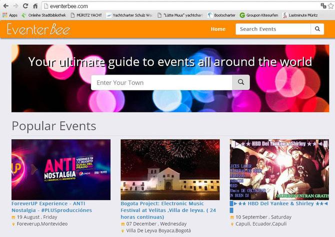 Partys rund um die Welt... Montevideo, Bogota, Capuli - und dann eben die B4 in Nürnberg  :=)   (Screenshot vom 09.08.2016)