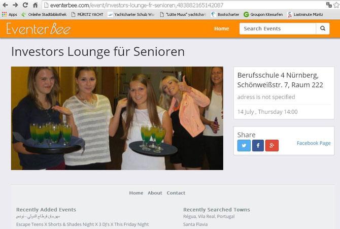 Nettes Schmankerl zum Schluss: Wir wurden auf einer internationalen Eventplattform (vgl. folgendes Bild) erwähnt!!! Was ein paar attraktive Mädels und Drinks ausmachen... (Screenshot vom 09.08.2016)