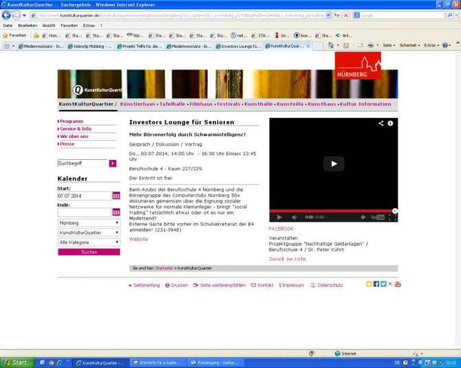 KunstKulturQuartier - Veranstaltungshinweis auf Szeneplattform (Screenshot vom 08.07.2014)