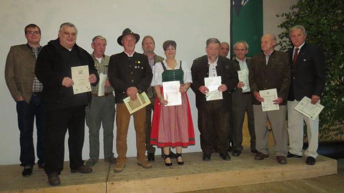 Ehrung für langjährige Mitgliedschaft oder/und Treue als Jagdhornbläser im BJV-Miltenberg