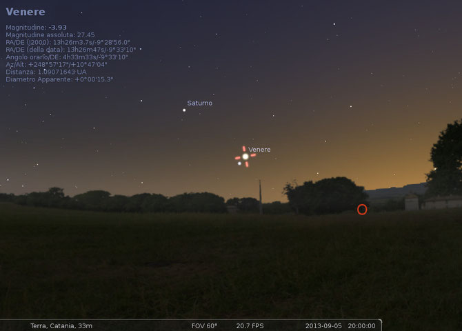 Simulazione attraverso il software Stellarium