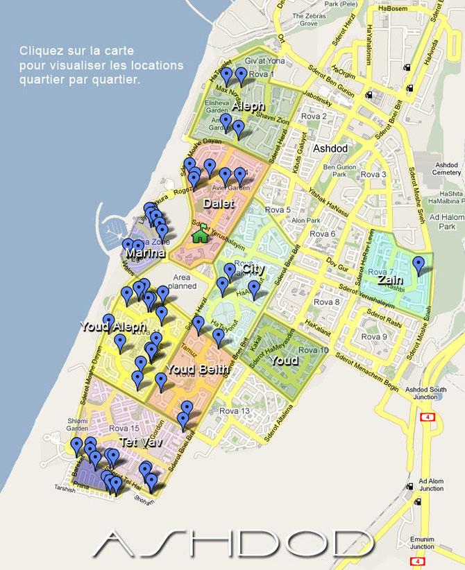 Carte d'Ashdod en français