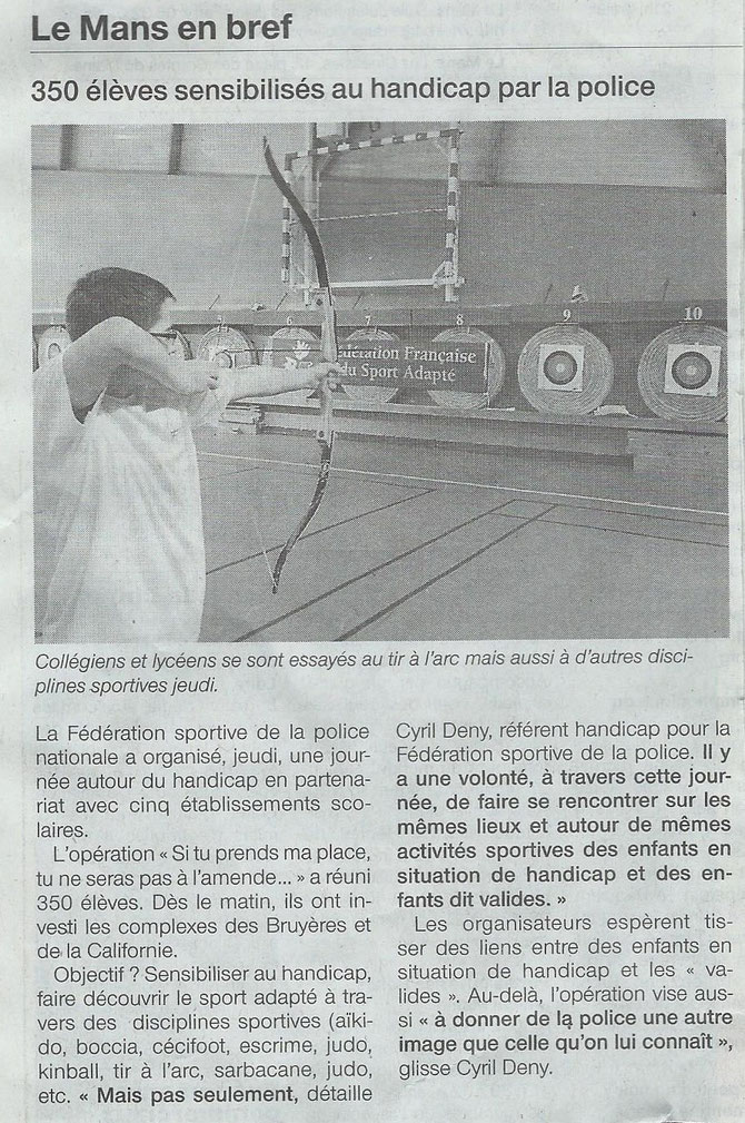 Article Ouest France - 26 septembre 2014 -