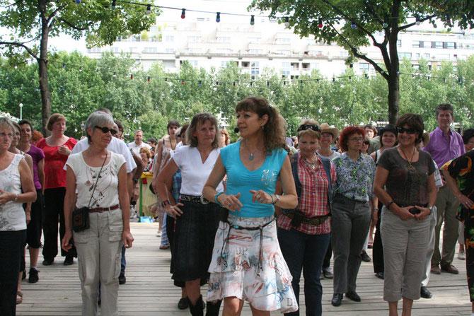 Initiation avec Annie à Paris-Plages, été 2009