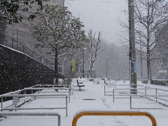 集合場所降りしきる雪、人の姿なし。 降る雪は 足跡消して 姿隠す