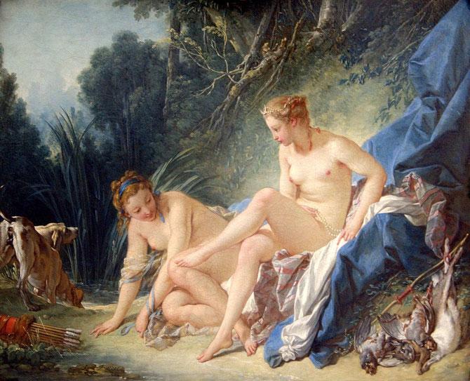 水浴のディアナ (Diane au Bain) 1742年 57×73cm | 油彩・画布 | ルーヴル美術館(パリ)