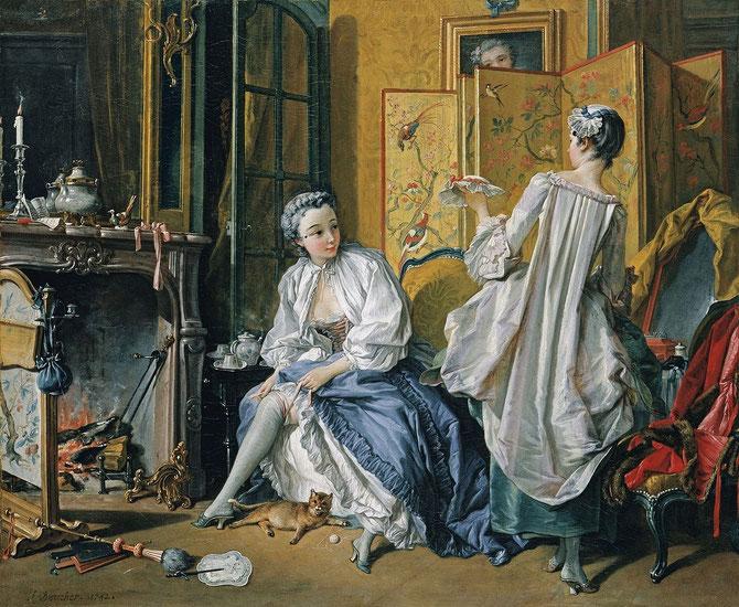 化粧 (La Toilette) 1742年 | 52.5×66.5cm 油彩・画布 | テュッセン=ボルネミッサ・コレクション