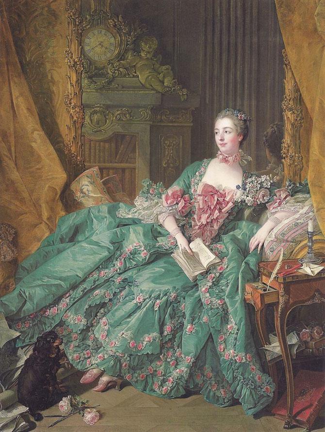 ポンパドゥール夫人の肖像(マダム・ド・ポンパドゥール) (Portrait de Mme Pompadour) 1756年 201×157cm | 油彩・画布 | アルテ・ピナコテーク(ミュンヘン)
