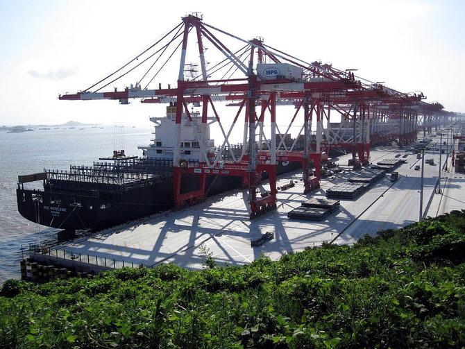 Grues de manutention des conteneurs à Yangshan. Marqueed/Wikimedia[CC BY 3.0]
