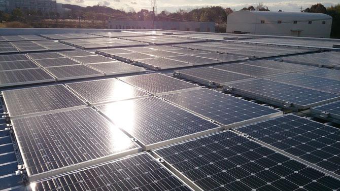 太陽光発電パネル配線工事。
